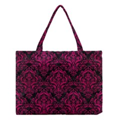 Damask1 Black Marble & Pink Leather (r) Medium Tote Bag by trendistuff