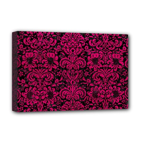 Damask2 Black Marble & Pink Leather (r) Deluxe Canvas 18  X 12   by trendistuff