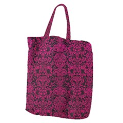 Damask2 Black Marble & Pink Leather (r) Giant Grocery Zipper Tote