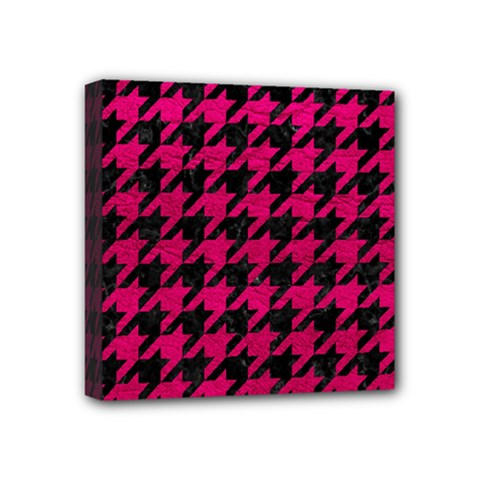 Houndstooth1 Black Marble & Pink Leather Mini Canvas 4  X 4  by trendistuff