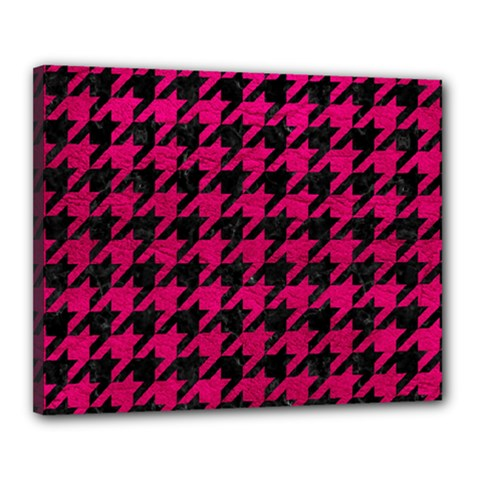 Houndstooth1 Black Marble & Pink Leather Canvas 20  X 16  by trendistuff
