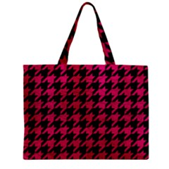 Houndstooth1 Black Marble & Pink Leather Zipper Mini Tote Bag by trendistuff