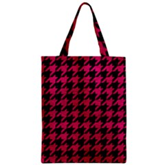 Houndstooth1 Black Marble & Pink Leather Zipper Classic Tote Bag by trendistuff