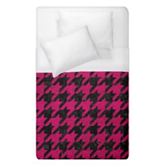 Houndstooth1 Black Marble & Pink Leather Duvet Cover (single Size) by trendistuff