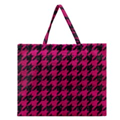 Houndstooth1 Black Marble & Pink Leather Zipper Large Tote Bag by trendistuff