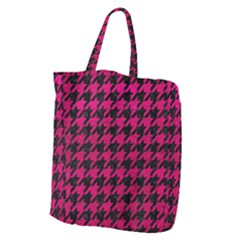 Houndstooth1 Black Marble & Pink Leather Giant Grocery Zipper Tote by trendistuff