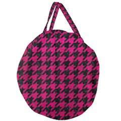 Houndstooth1 Black Marble & Pink Leather Giant Round Zipper Tote by trendistuff