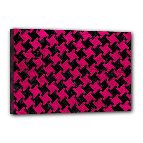 Houndstooth2 Black Marble & Pink Leather Canvas 18  X 12  by trendistuff