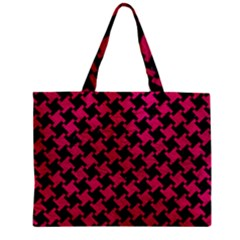 Houndstooth2 Black Marble & Pink Leather Zipper Mini Tote Bag by trendistuff