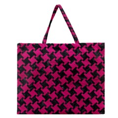 Houndstooth2 Black Marble & Pink Leather Zipper Large Tote Bag by trendistuff