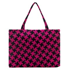 Houndstooth2 Black Marble & Pink Leather Zipper Medium Tote Bag by trendistuff