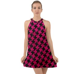 Houndstooth2 Black Marble & Pink Leather Halter Tie Back Chiffon Dress
