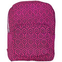 Hexagon1 Black Marble & Pink Leather Full Print Backpack by trendistuff