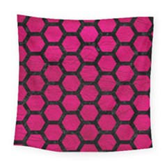 Hexagon2 Black Marble & Pink Leather Square Tapestry (large) by trendistuff
