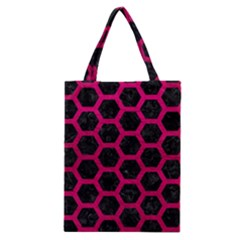 Hexagon2 Black Marble & Pink Leather (r) Classic Tote Bag by trendistuff