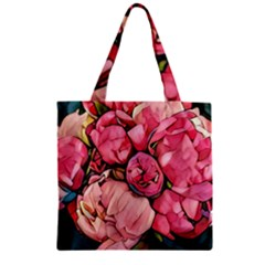 Beautiful Peonies Zipper Grocery Tote Bag by 8fugoso