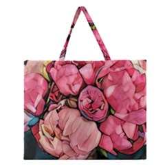 Beautiful Peonies Zipper Large Tote Bag by 8fugoso