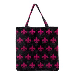 Royal1 Black Marble & Pink Leather Grocery Tote Bag by trendistuff