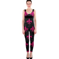 Royal1 Black Marble & Pink Leather Onepiece Catsuit by trendistuff