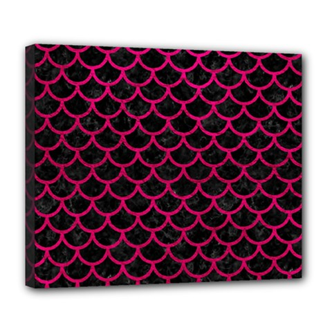 Scales1 Black Marble & Pink Leather (r) Deluxe Canvas 24  X 20   by trendistuff