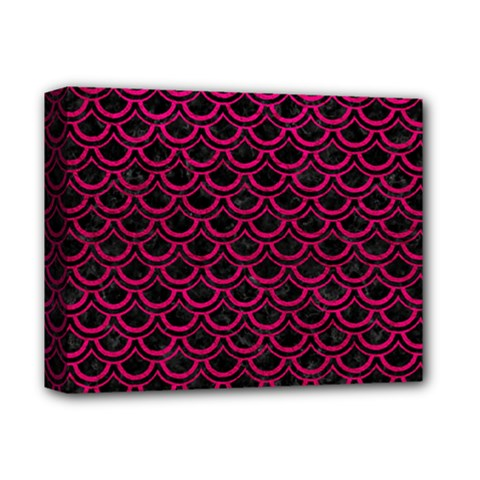 Scales2 Black Marble & Pink Leather (r) Deluxe Canvas 14  X 11  by trendistuff