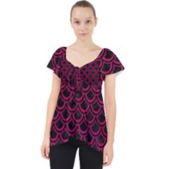 Scales2 Black Marble & Pink Leather (r) Lace Front Dolly Top