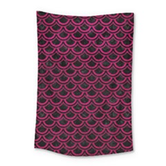 Scales2 Black Marble & Pink Leather (r) Small Tapestry by trendistuff