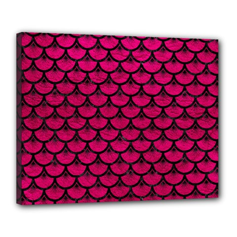 Scales3 Black Marble & Pink Leather Canvas 20  X 16  by trendistuff