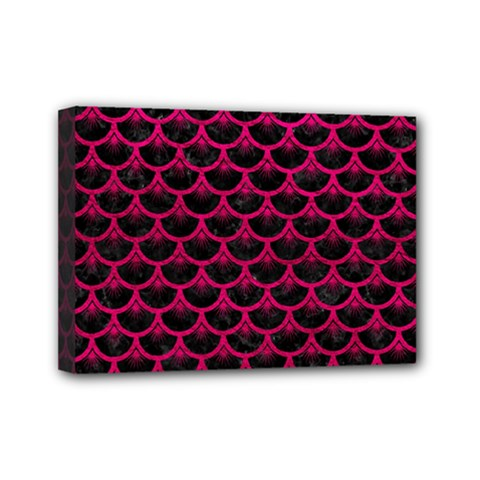 Scales3 Black Marble & Pink Leather (r) Mini Canvas 7  X 5  by trendistuff