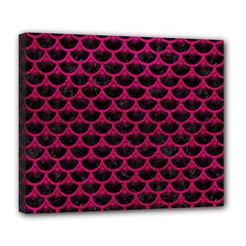 Scales3 Black Marble & Pink Leather (r) Deluxe Canvas 24  X 20   by trendistuff