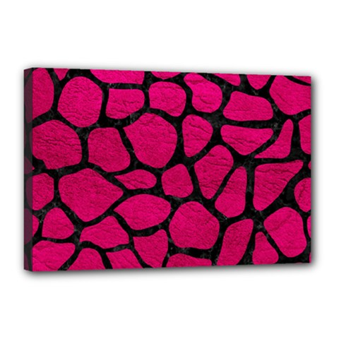 Skin1 Black Marble & Pink Leather (r) Canvas 18  X 12  by trendistuff
