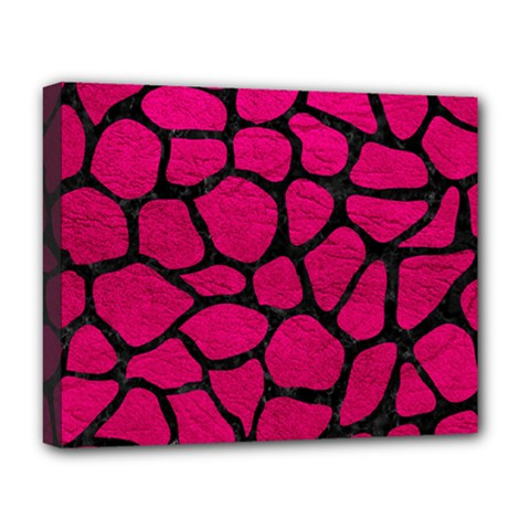 Skin1 Black Marble & Pink Leather (r) Deluxe Canvas 20  X 16   by trendistuff