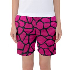 Skin1 Black Marble & Pink Leather (r) Women s Basketball Shorts by trendistuff