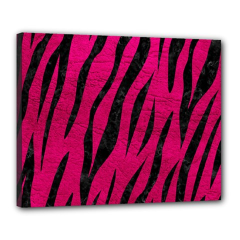 Skin3 Black Marble & Pink Leather Canvas 20  X 16  by trendistuff