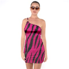 Skin3 Black Marble & Pink Leather One Soulder Bodycon Dress by trendistuff