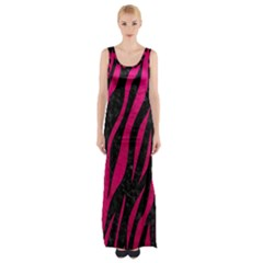 Skin3 Black Marble & Pink Leather (r) Maxi Thigh Split Dress by trendistuff