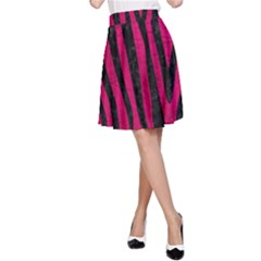 Skin4 Black Marble & Pink Leather (r) A Line Skirt by trendistuff
