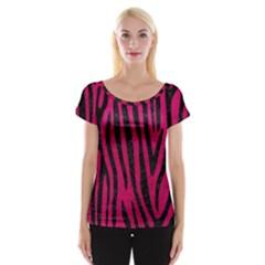 Skin4 Black Marble & Pink Leather (r) Cap Sleeve Tops by trendistuff