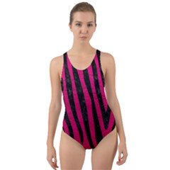 Skin4 Black Marble & Pink Leather (r) Cut Out Back One Piece Swimsuit by trendistuff