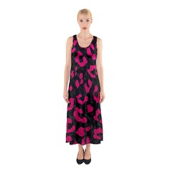 Skin5 Black Marble & Pink Leather Sleeveless Maxi Dress by trendistuff