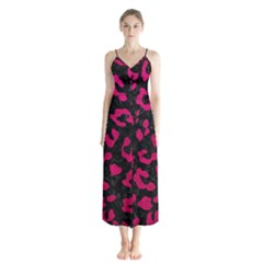 Skin5 Black Marble & Pink Leather Button Up Chiffon Maxi Dress by trendistuff