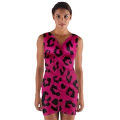 Skin5 Black Marble & Pink Leather (r) Wrap Front Bodycon Dress by trendistuff