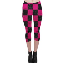 Square1 Black Marble & Pink Leather Capri Leggings