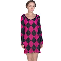 Square2 Black Marble & Pink Leather Long Sleeve Nightdress