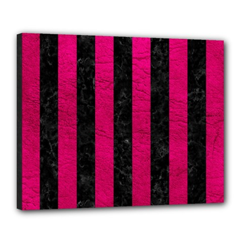 Stripes1 Black Marble & Pink Leather Canvas 20  X 16  by trendistuff