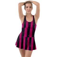 Stripes1 Black Marble & Pink Leather Swimsuit