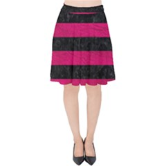 Stripes2 Black Marble & Pink Leather Velvet High Waist Skirt