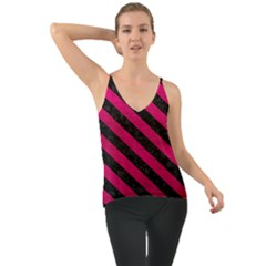 Stripes3 Black Marble & Pink Leather Cami