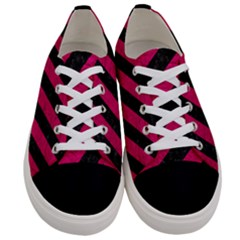 Stripes3 Black Marble & Pink Leather (r) Women s Low Top Canvas Sneakers