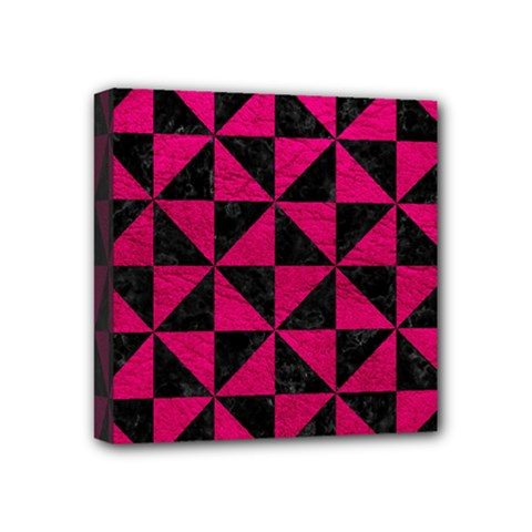 Triangle1 Black Marble & Pink Leather Mini Canvas 4  X 4  by trendistuff